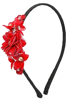 Red Sequins and Crystal Embellished Hairband by Studio Accessories