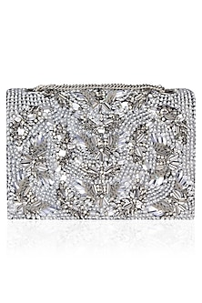 Black Sequin and Pearl Work Clutch Bag by Studio Accessories