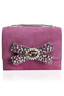 Red Stone Embellished Bow Suede Clutch Bag by Studio Accessories