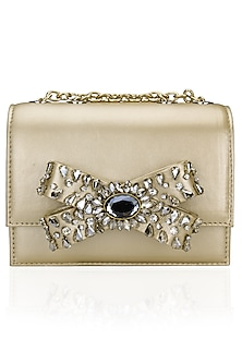Gold Stone Embellished Bow Clutch Bag by Studio Accessories