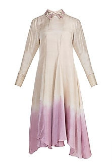 Beige To Lilac Dip Dyed Embroidered Tunic by Adah