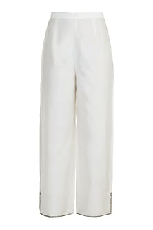 Off White Embroidered Parallel Pants by Adah