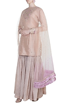 Nude Embroidered Sharara Set by Adah