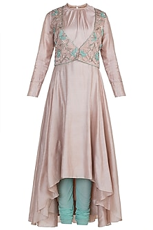 Nude Embroidered Anarkali Kurta With Jacket & Churidar Pants by Adah