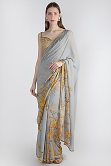 Grey Printed & Embellished Saree Set by Adah