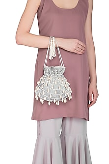 Light Grey Embroidered Teardrop Potli Bag by Adora by Ankita
