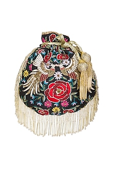 Black Embroidered Phoenix Flapper Potli Bag by Adora by Ankita