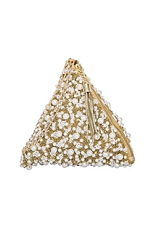 Gold Embroidered Pyramid Wristlet Potli Bag by Adora by Ankita