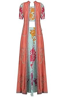 Aqua Printed Lehenga Skirt and Blouse with Pink Sleeveless Long Jacket