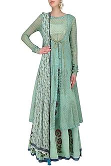 Sky Blue Floral Printed Lehenga Skirt and Long Open Jacket Set by Anupamaa Dayal