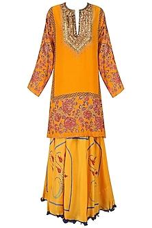 Yellow and Pink Floral Printed Kurta and Skirt Set