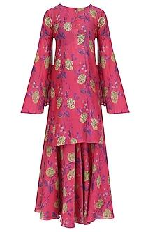 Pink Floral Printed Kurta and Sharara Pants Set by Anupamaa Dayal