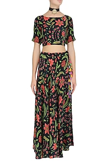 Black Floral Printed Crop Top and Skirt Set by Anupamaa Dayal