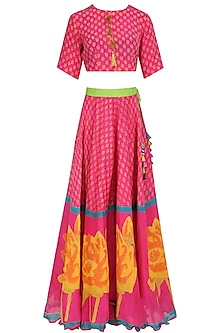 Pink Chanderi Crop Top and Lehenga Skirt Set
