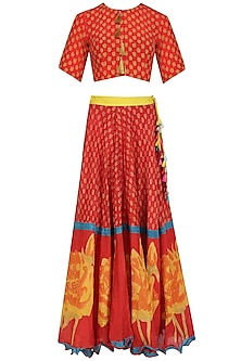Red Chanderi Crop Top and Lehenga Skirt Set