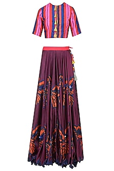 Maroon Butterfly Print Lehenga Skirt with Crop Top