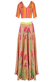 Orange Floral Printed Lehenga Set