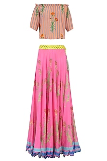 Light Pink Floral Printed Lehenga Set with off Shoulder Blouse