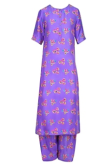 Purple Floral Printed Kurta Set with Pleated Pants by Anupamaa Dayal