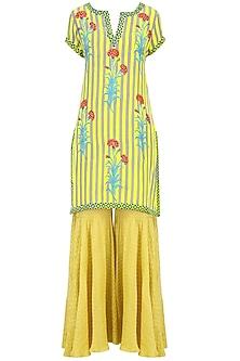 Lemon Yellow Striped Floral Printed Short Kurta Set with Sharara Pants