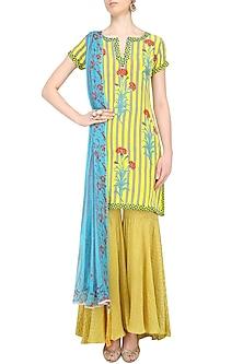 Lemon Yellow Striped Floral Printed Short Kurta Set with Sharara Pants by Anupamaa Dayal