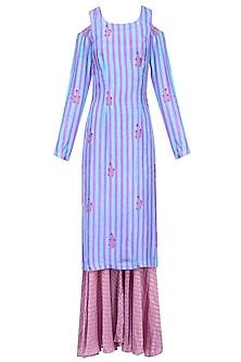 Purple Striped Cold Shoulder Kurta Set with Sharara Pants