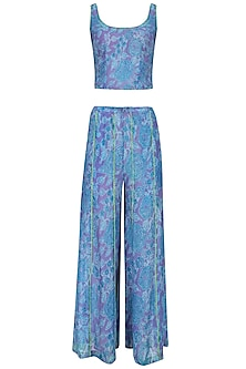 Dark Blue Rose Print Crop Top with Panelled Pants