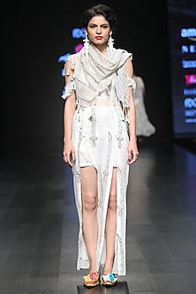 White Sequins Embroidered Maxi Dress And Scarf by Anupamaa Dayal