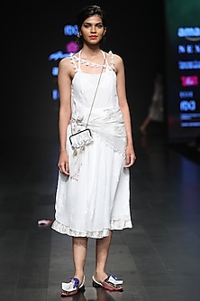 White Tassel Embellished Strappy Midi Dress And Scarf by Anupamaa Dayal