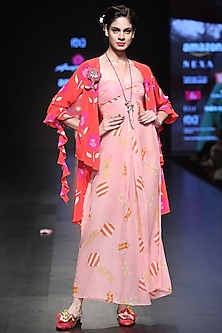 Pink Off Shoulder Printed Maxi Dress And Red Asymmetrical Overlayer