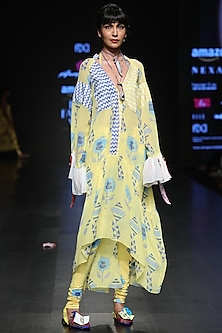 Lemon Yellow Kites Print Dress