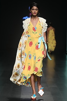 Yellow Printed Wrap Dress With Ruffled Tie Up