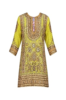 Dark Yellow Embroidered Kurta with dupatta<br />