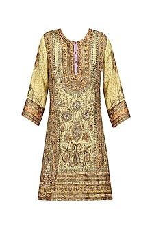 Yellow and Gold Embroidered Kurta with dupatta