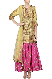 Yellow and Gold Embroidered Kurta with dupatta by Anupamaa Dayal