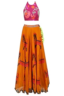 Pink Floral Printed Crop Top and Orange Skirt Set