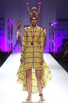 Lemon and grey checkered print asymmetric shirt dress by Anupamaa Dayal