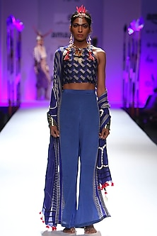Ultra marine blue chevron stripes printed crop, pants and odhni set by Anupamaa Dayal
