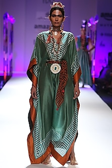 Green and orange zigzag printed kaftan and scarf set by Anupamaa Dayal