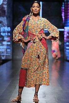 Orange Long Embroidered Long Dress by Anupamaa Dayal