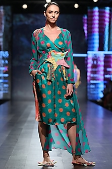 Dark Green Short Apron Dress with Jacket by Anupamaa Dayal