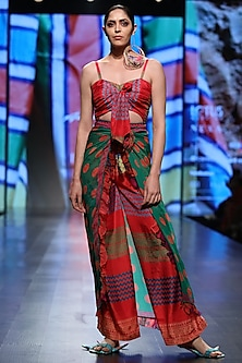 Red Front Tie Jumpsuit by Anupamaa Dayal