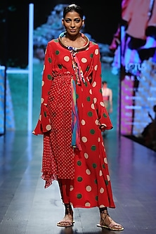Red Printed Long Dress by Anupamaa Dayal