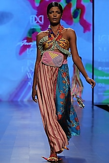 Multi Color Blouse and Cut Skirt by Anupamaa Dayal