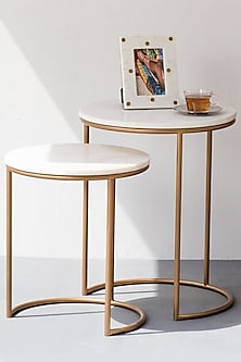 Adam Nesting Table In Ivory Marble With Gold Legs- Set Of 2 by The Decor Remedy