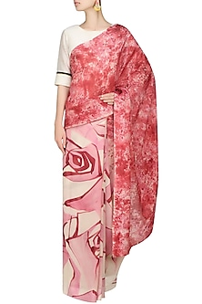 "Light pink ""Peony"" floral handpainted saree with an unstitched blouse piece by Aadi Shop By Shalini"