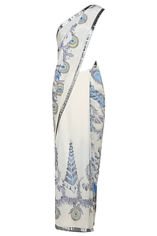 "Off white and blue ""Orchid"" floral handpainted saree and embroidered blouse set by Aadi Shop By Shalini"