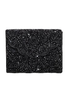 Black Scallop Embroidered Clutch by Adora by Ankita
