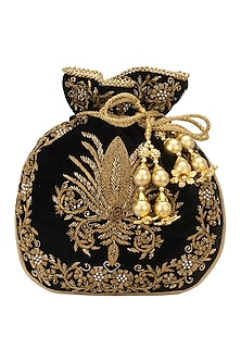 Black Zardozi and Beads Embroidered Potli Bag by Adora by Ankita