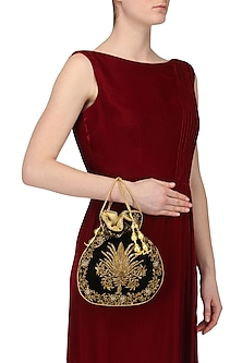 Black Zardozi and Beads Embroidered Potli Bag